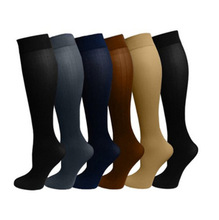 Pack of 3 Solid Color Compression Socks Knee High Long Knit Nylon Stockings 15-20 Mmhg Medical for Men & Women