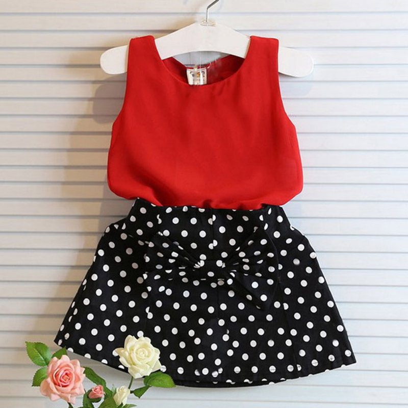 2 pcs Baby Girl Clothes Set Sleeveless T-shirt+ Polka Dot Skirt Outfits Children Clothing