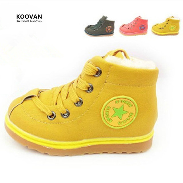 Koovan Liquidación 2017 Niños Zapatos Calientes de Los Niños de Algodón acolchado Bebé Niño Niños Niñas Zapatos Botas De Invierno Estrellas zapatillas de deporte