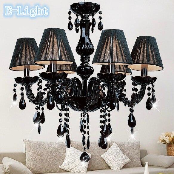 Modernen Schwarzen Kristall Lichter Kronleuchter Pendelleuchte Esszimmer Wohnzimmer Lobby Lampe Beleuchtung UseX6pcs E14 FHRTE