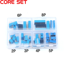30PCS/LOT Dip Switch Kit In Box 2 3 4 5 6 8 Way 2.54mm Toggle Switch Red  Blue Snap Switches Mixed Kit Each 5PCS Combination Set