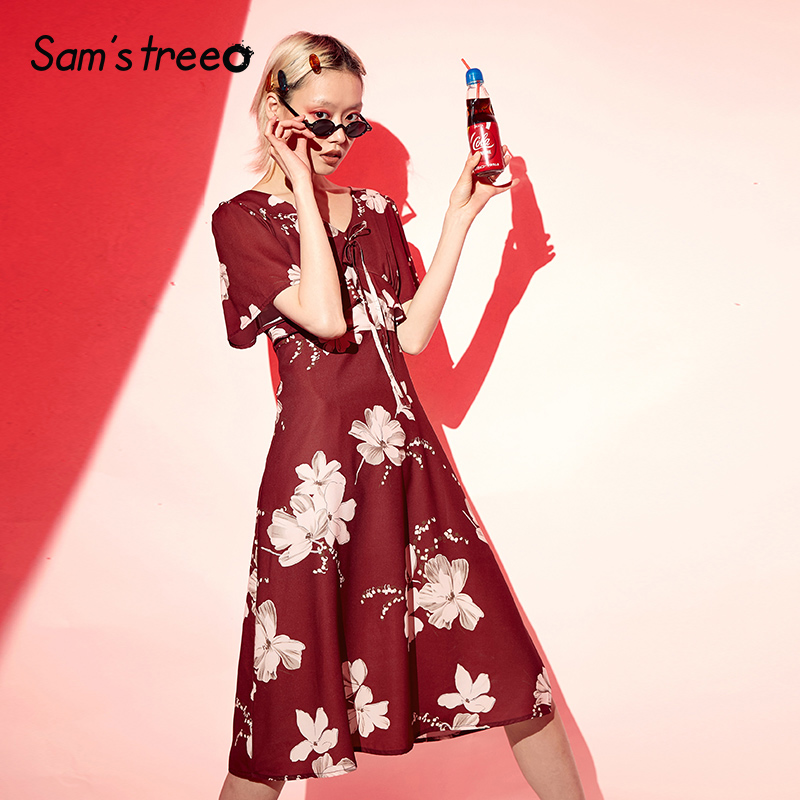 Samstree Vintage Red Floral Print Ruffles Women Holiday Dresses 2019 Summer Fashion Mid Waist V Neck