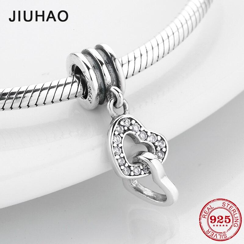 2019 nova moda 925 prata esterlina claro cz duplo coração fino pingentes contas caber pandora encantos originais pulseiras fazendo