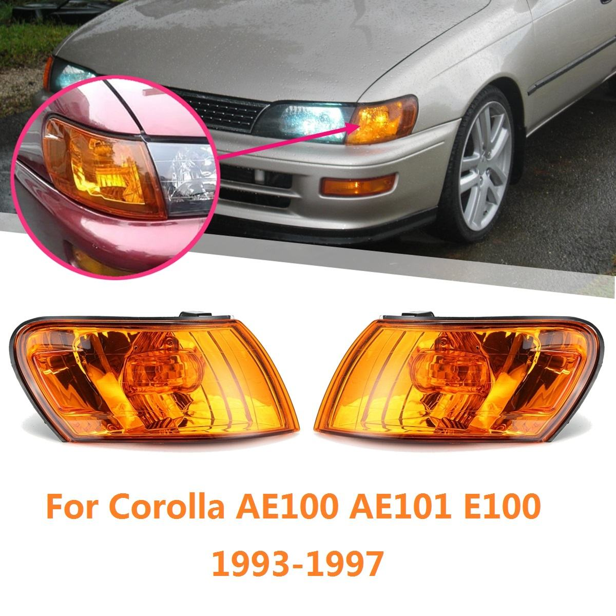 Pair Parking Corner Light Cover Amber Lens for <font><b>Toyota</b></font> Corolla AE100 <font><b>AE101</b></font> E100 1993 1994 1995 1996 1997 Signal Lamp Accessories image