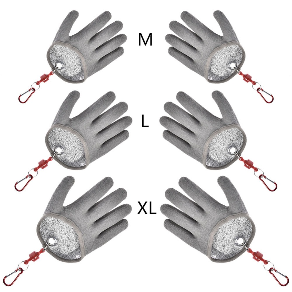 1 stück Fisch Fang Goves rutschfeste Wasserdichte PE Nylon Angeln Handschuhe Anti-cut Beißen Handschuhe Angeln Werkzeuge