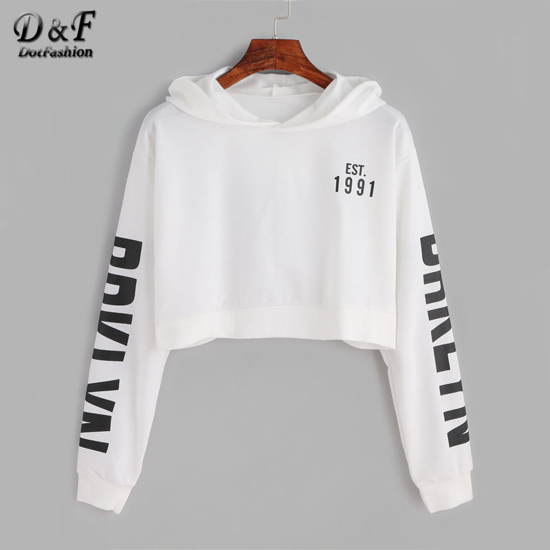 Hoodies & Sweatshirts 2018 Womens Long Sleeve Drop Shoulder Letter Print Hoodies Sweatshirt Crop Tops Short Pullovers With Drawstring