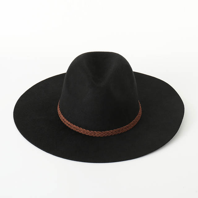 e3e2aa3662476 placeholder Autumn winter New Wool Weave Rope Flat Top Hat For Women s Felt  Wide Brim Fedora Hat