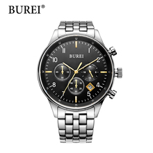 BUREI Man Watch Top Brand Luxury Clock Men Date Display Waterproof Sapphire Crystal Lens Multi-function Wristwatches Hot Sale