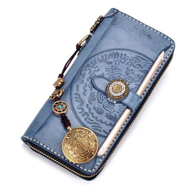 Blue Misty Wax Leather Wallets Embossing Bag Purses Women Men Long Clutch Genuine Leather Wallet Card Holder Cell Phone Pocket