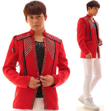 Cool boy novelty red male costume blazer jacket Diamond coat outfit high quality singer dancer stage nightclub performance show