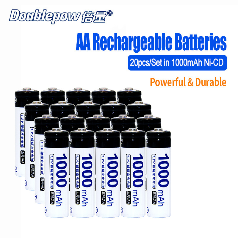 20pcs Lot Doublepow DP AA1000mA 1 2V AA Ni CD rechargeable battery in Actual High Capacity