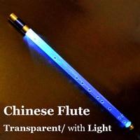 Chinese Flute Transparent Dizi with Flashlight Mini Wind Musical Instruments Professional Transverse Pocket Plastic Flauta Key C