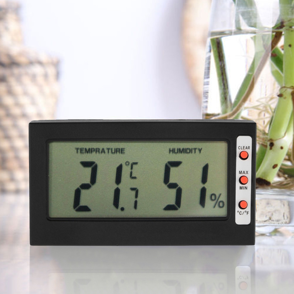 Large Digital Lcd Display Freezer Room Thermometer Hygrometer Max Min Memory Celsius Fahrenheit