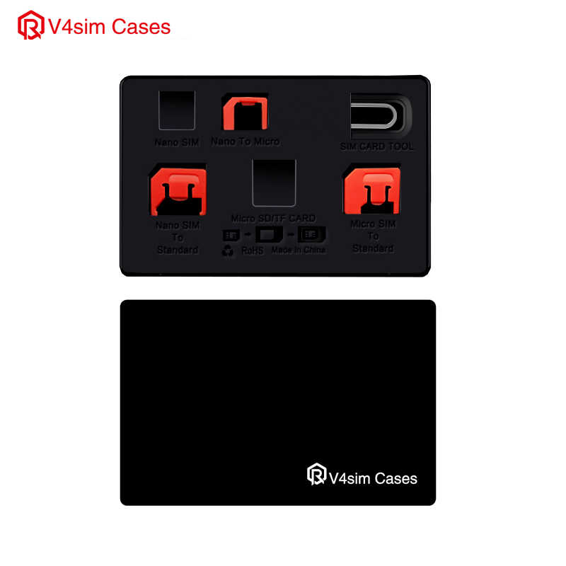 SIM Card Adapter set & NANO SIM Card Holder Case with lphone Pin needle, slim Credit Card size for wallet, storage case