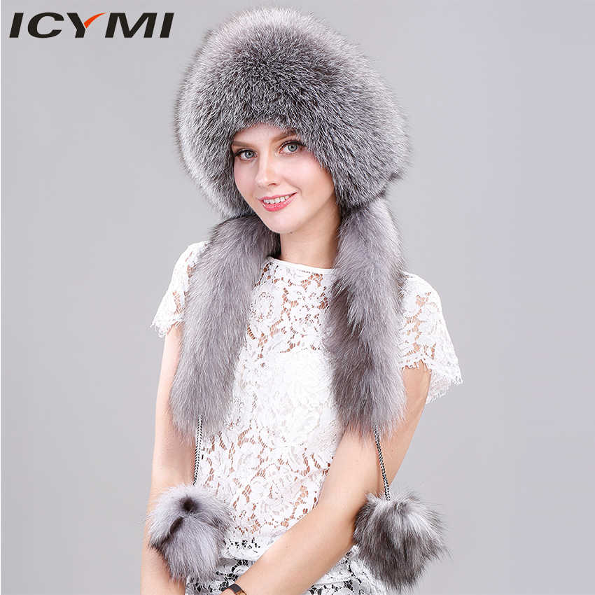 60d32e7c454 ICYMI Women Winter Real Fox Fur Hat with Rabbit Top Newest 2018 Hats with  Long Tail