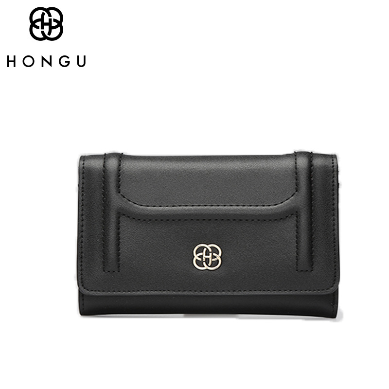 HONGU Solid Top-Handle Card Bag Clutches Real Cow Leather Bag Women Wallet Luxury Brand Designer Female Small Buckle Coin Pocket