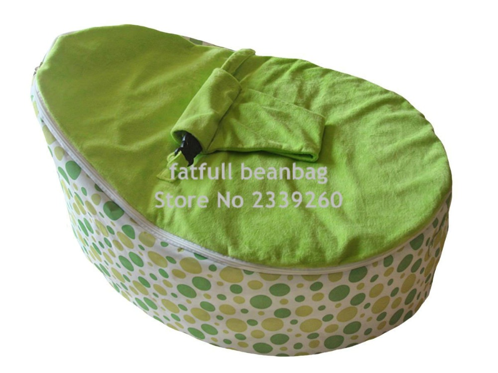 cover only no fillings 600d polyester green polka baby sleeping bean bag chair kids beanbag. Black Bedroom Furniture Sets. Home Design Ideas
