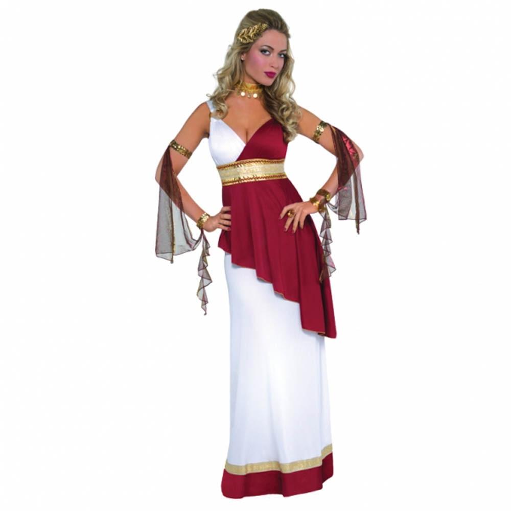 Free Shipping Womens Adult Greek Roman Goddess Toga Empress Fancy Dress Party Costume
