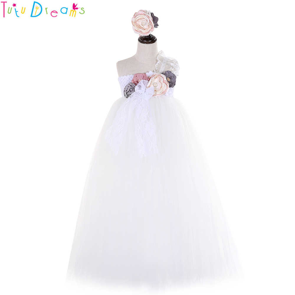 6bfa83a4c68 Elegant Flower Girl Wedding Tutu Dress Ivory Pink Girls Lace Birthday Party  Mesh Tulle Dresses Kids