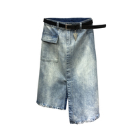 2018 summer irregular women A line sexy skirts patchwork blue denim skirts
