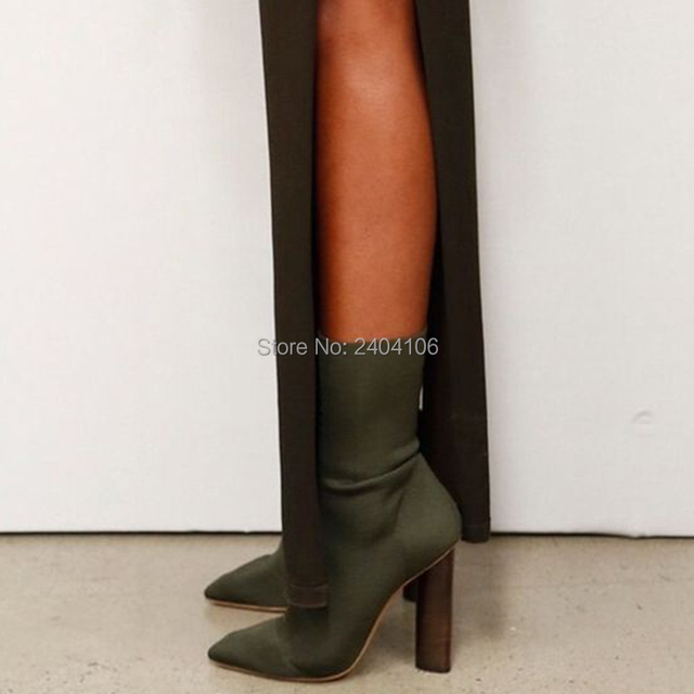 2018 Army Green Stretch Knit Ankle Boots Women Kim Kardashian Block Heels  Short Sock Booties Pointed Toe High Heeled Shoes Woman 809b170e6833