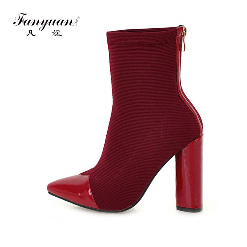 Fanyuan nouvelle fermeture éclair couleur mixte mode bottes femmes bout pointu bottines hiver à talons hauts parti bottes décontracté botas mujer