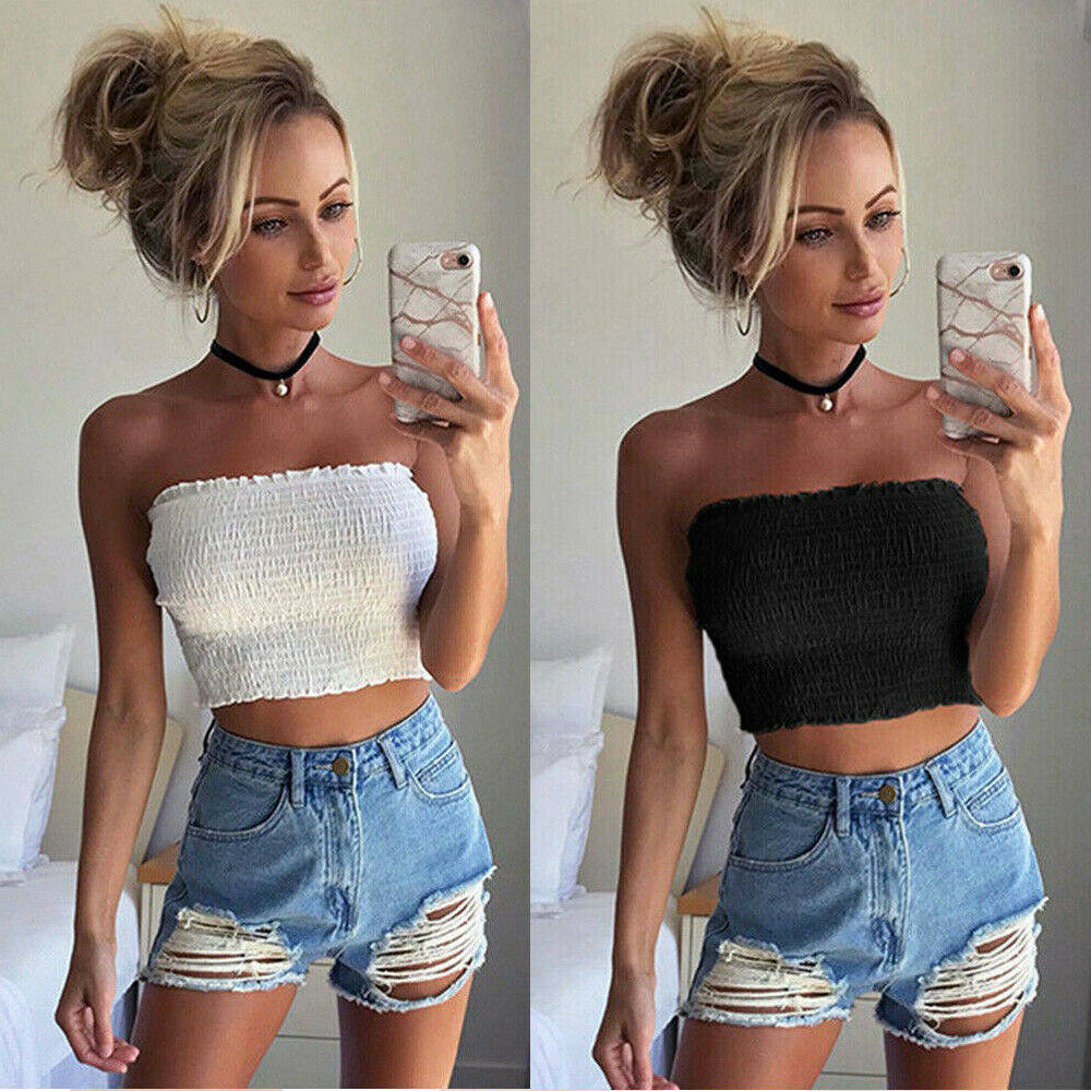 2019 Women Off Shoulder Stretch Elastic Tube Tops Blouse Strapless Bandeau Crop Top Shirt New Hot Sexy Party Beach Tops Clothes
