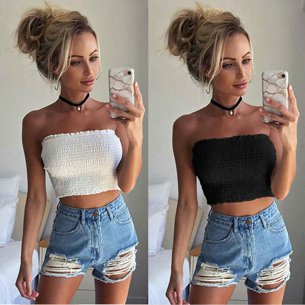 2019 Vrouwen Off Shoulder Stretch Elastische Tube Tops Blouse Strapless Bandeau Crop Top Shirt Nieuwe Hot Sexy Party Beach Tops kleding