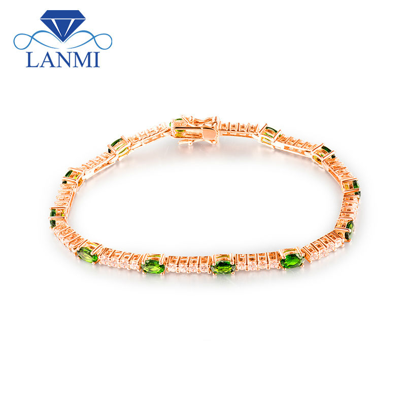 Natural Oval 4x5mm Tsavorite Wedding Bracelet Solid 18K Gold Diamond Engagement Gemstone Jewelry For Women Gift цена
