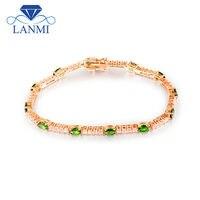 Naturel Ovale 4x5mm Tsavorite De Mariage Bracelet Solide 18 K Gold Diamond Engagement Bijoux de Pierre Gemme Pour Les Femmes Cadeau