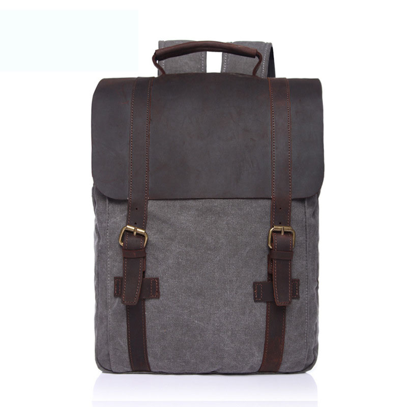 HOT Sale Men Women Canvas Backpack Fahion Trendy Laptop Bag And Cowhide Splicing Classic Belt Lesiure Stylish Daypack