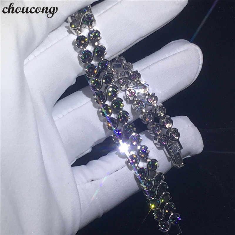 Choucong modna bransoletka białe złoto wypełnione 2 rzędy Rianbow AAAAA cyrkon cz zaręczyny ślubne bransoletki dla kobiet ręcznie biżuteria