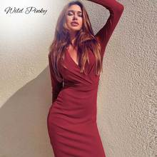 WildPinky Overall Office Women Medium Long Dress Plus Size Female Bodycon Midi Winter Sexy Deep V-Neck Party Wrap