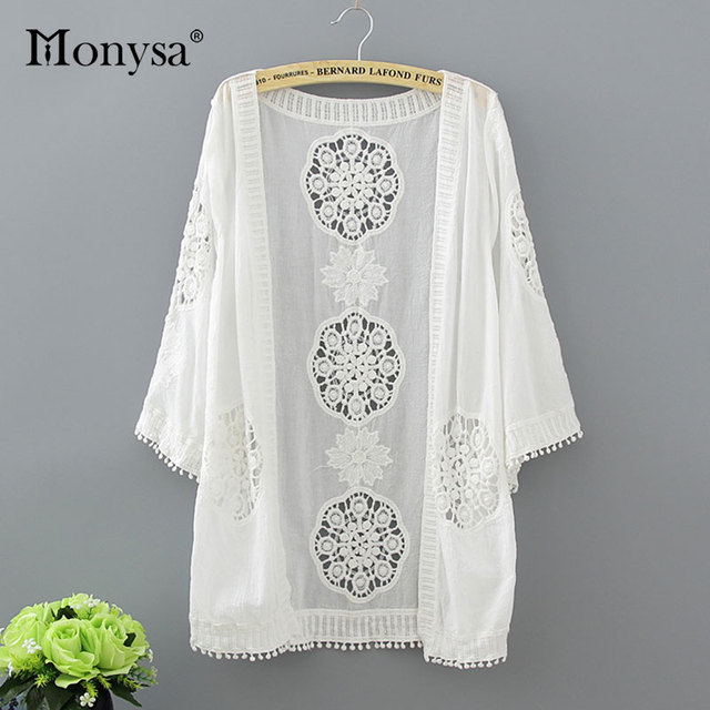 6c53975ed01b2 Monysa Summer White Beach Cover Up 2018 New Cardigan Lace Mesh Sexy Bikini  Cover Up Women Floral Hollow Tassel Swimsuit Cover Up