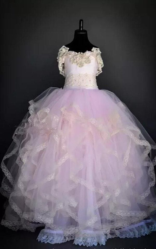 Actual Photos New Kids Flower Girls Dresses Tiered Ball Gown Floor Length Tulle Pearls Little Girl Pageant Dress