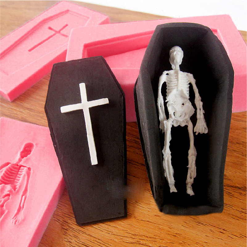 silicone mold halloween 3d coffin in the skull cross skim cake mold chocolate tools for cake