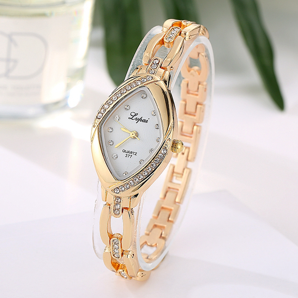 Women Fashion LVPAI Brand Casual Luxury Watch Ellipse Diamond Creative Ladies Quartz WristWatches Women Dress Watches Clock