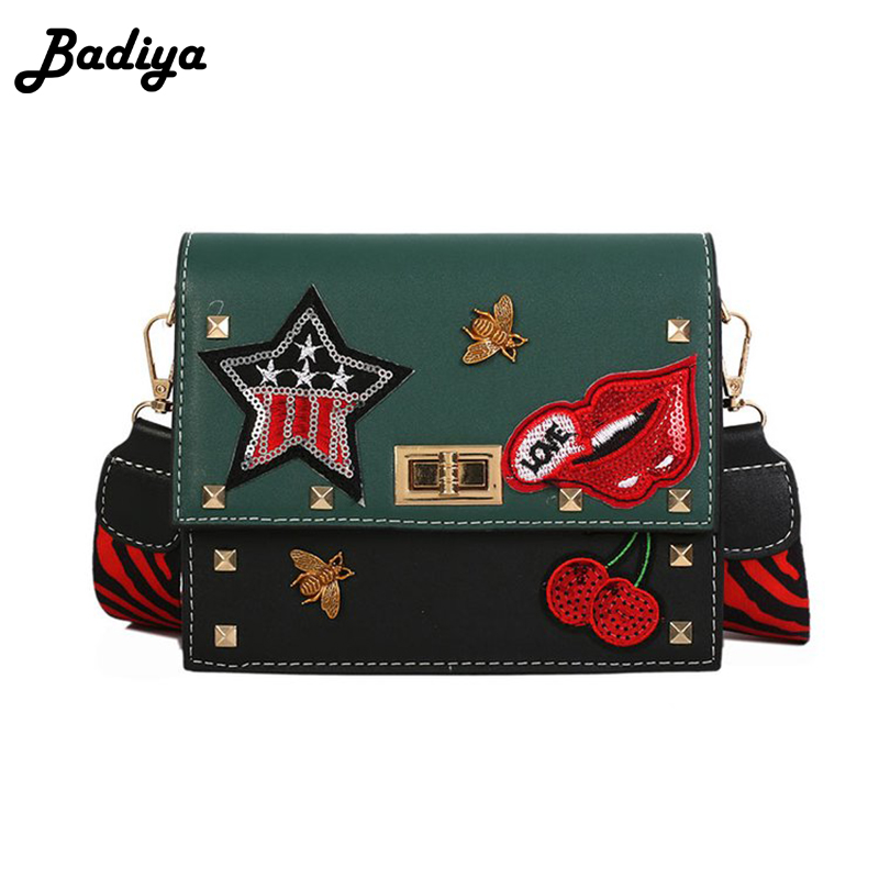 Fashion Brief Design Women Shoulder Bag PU Leather Contrast Color Crossbody Cartoon Printing Wide Strap Bag Female Sac Bolsa