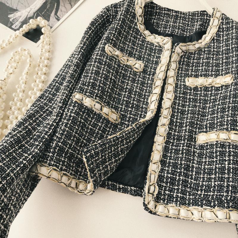 Hiver Noir Contraste Mode Survêtement Manteau 2018 Tweed Femmes Vintage Office Veste Automne Lady bleu Couleurs Streetwear 6wqE5fX