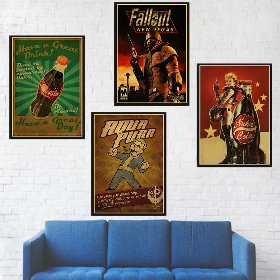 Retro poster Fallout 3/4 Game Poster boys' room wall decoration Kraft paper Game vintage poster Wall stickers image