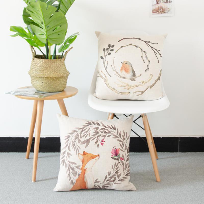 Modern Minimalist Cartoon Pillow Case Animal Bird Deer Elephant Teapot Love Feathers Horse Fox Flower Cushion Cover For Chair
