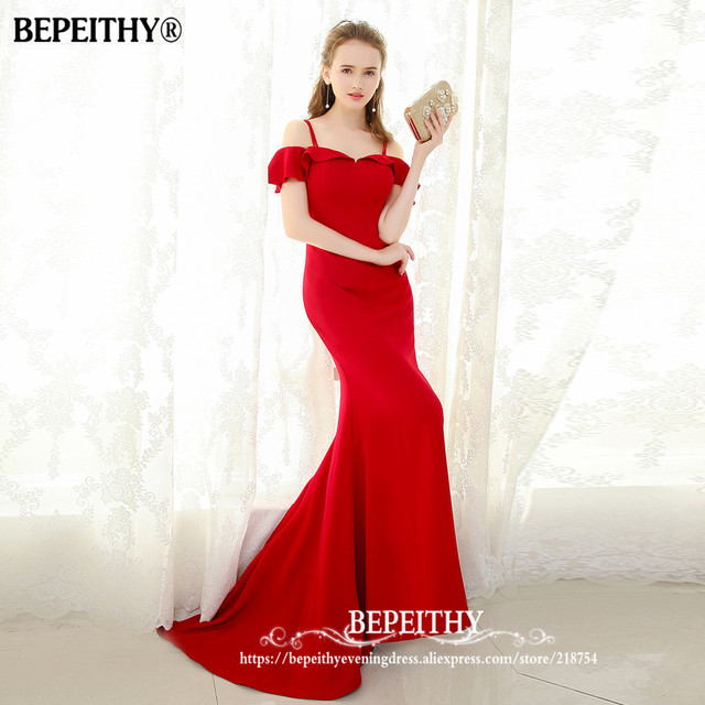 BEPEITHY 2019 Mermaid Long Evening Dress Spaghetti Straps Vestido De Festa Sweep Train Vintage Prom Party Gowns 1