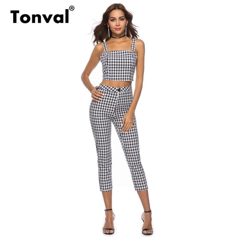 Tonval Vintage Little Plaid Elegant   Jumpsuit   Womens Two Piece Sets Rompers 2018 Summer Streetwear Sexy   Jumpsuit