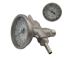 Home Brew In-line Thermometer and 1/2 Hex Nipple Fitting, Bi-metal Thermometer & Thread Pipe Fitting Barb,Beer Brew Accessories homebrew beer in line thermometer and stainless hose barb 3 face bi metal thermometer and 1 2 hex nipple fitting