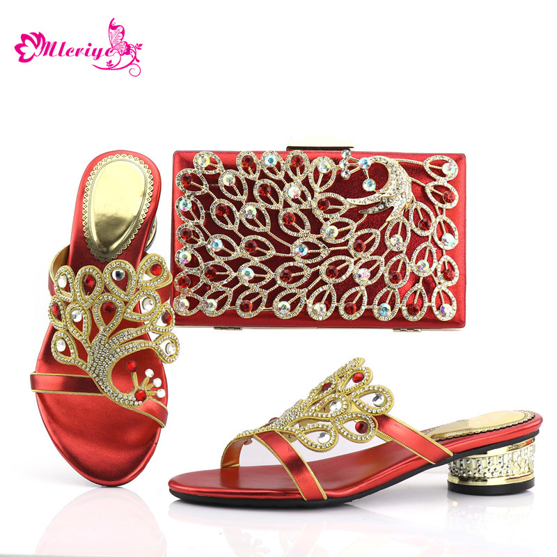 Latest African Italian Shoes Matching Bags Set Ladies Italian Shoes and Bag Set Decorated with Rhinestone Nigerian Women Shoes latest orange color african matching shoes and bags italian in women italian ladies shoes and bag set decorated with rhinestone
