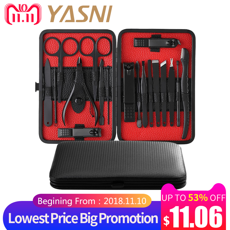 цена Manicure Set Nail Clippers Kit Pedicure Care Tools Black Men Grooming Kit 18Pcs With Black PU Leather Case for Travel Home NT133