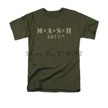 Darmowa wysyłka MASH 4077 Distressed Logo mężczyźni t koszula koszulka homme wzór koszulka lato styl modna koszulka tanie i dobre opinie shubuzhi Krótki CN (pochodzenie) O-neck short JERSEY COTTON HIP HOP Stałe