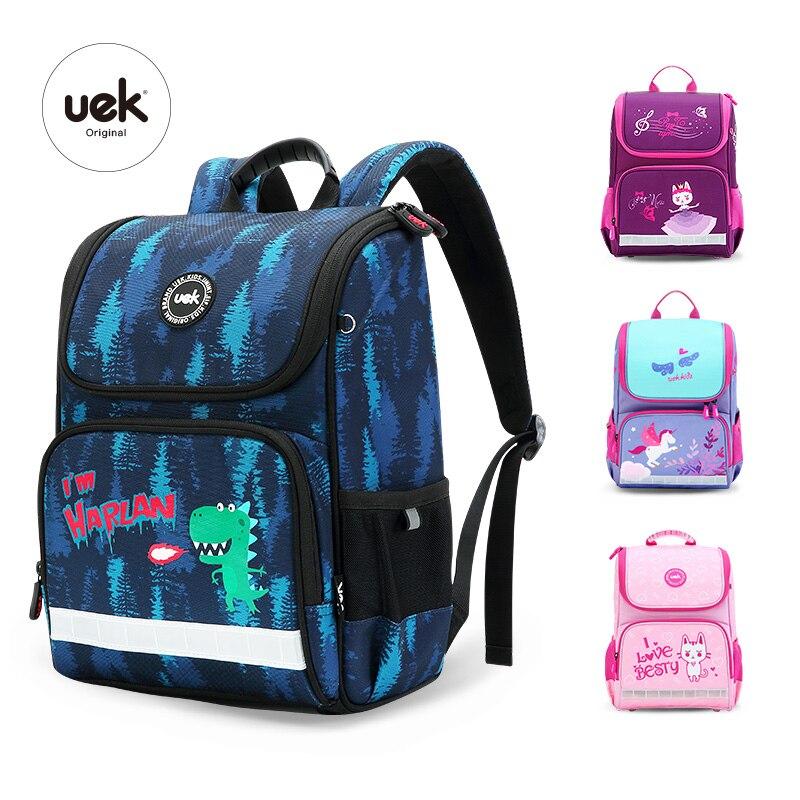 2018 marque UEK nouveaux garçons fille sacs d'école 3D mignon dinosaure chat motif étanche orthopédique sac à dos cartable Mochila Infantil