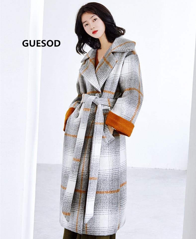 Costume Femmes Femme Guesod Long gris Manteau Col Des De Pald D'hiver 2017 Survêtement Bleu Contraste Laine Épaississent Couleur rouge Fwn8qgSw
