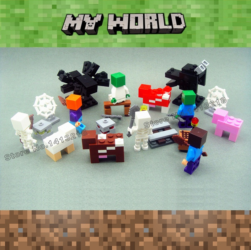 8pcs My World Steve Alex Skeleton Zombie Animal Minecrafted Mini Building Blocks Figures Bricks Toys for Boys Gifts Children обувь для легкой атлетики love the world alex tfp347 hj japan